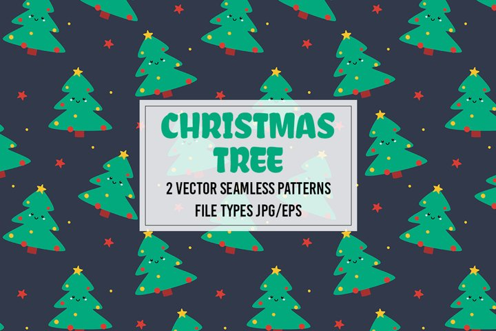 Vector seamless patterns with cute Christmas trees. Jpg/Eps