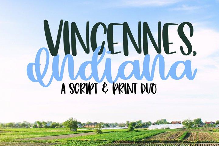 Vincennes Indiana - A Script & Print Duo