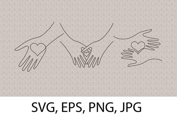 Heart in hands bundle One Line Drawing Hearts SVG Silhouette