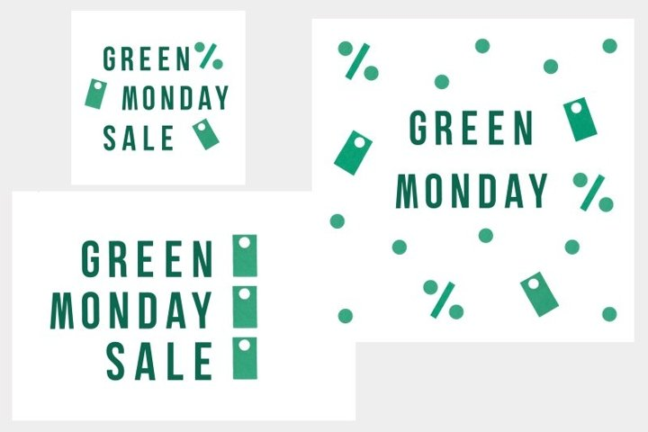 Set of flyers for Green Monday Sale on white