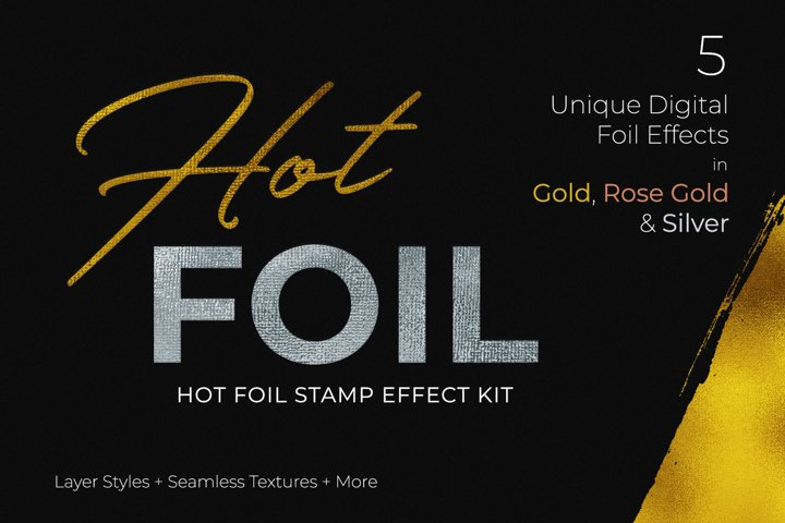 Hot Foil Stamp Effect Kit for Photoshop example