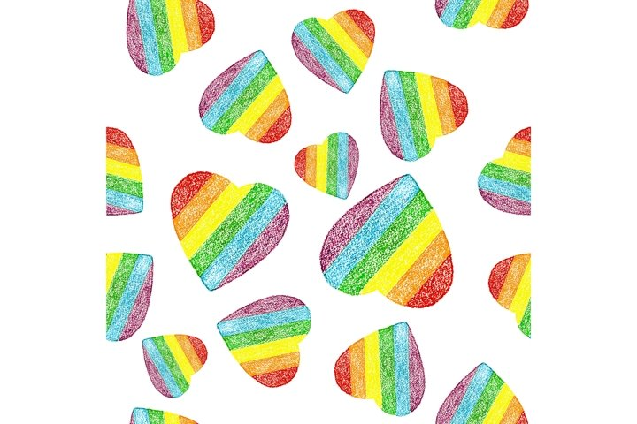 Seamless pattern of hand drawn hearts in rainbow flag colors