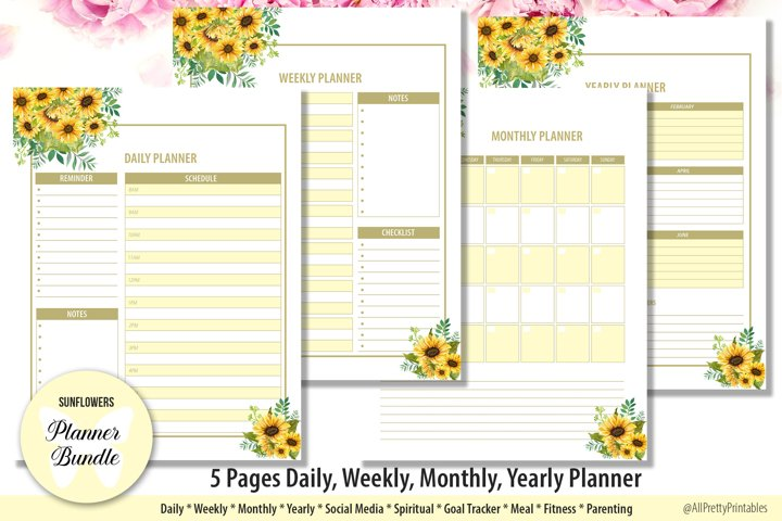 Sunflowers Daily Weekly Monthly Yearly Planner