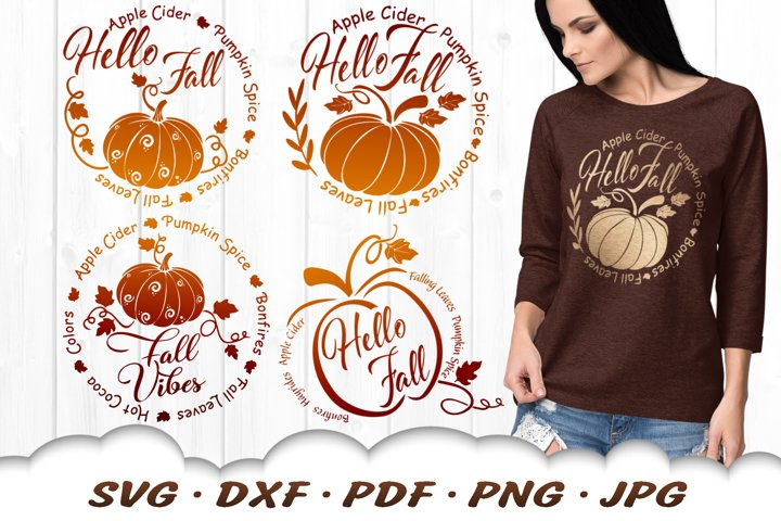 Hello Fall Vibes Pumpkin SVG DXF Cut Files Bundle