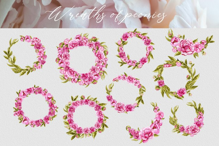 Set of watercolor floral wreaths PNG