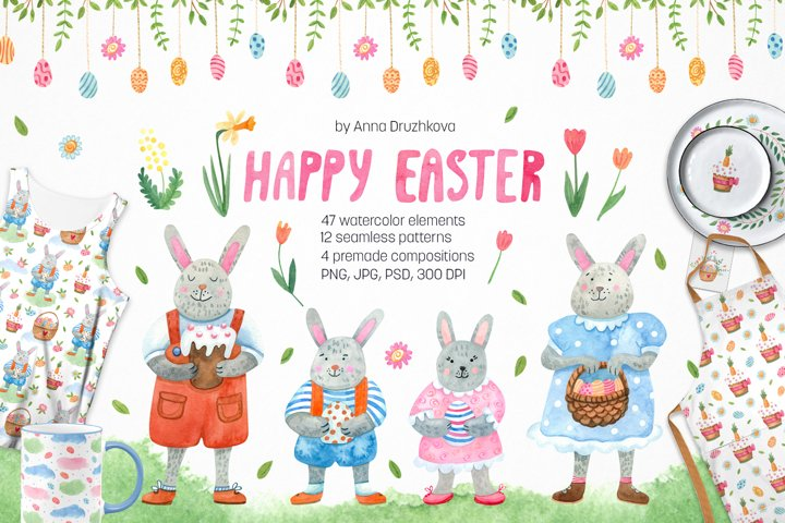 Happy Easter watercolor clipart and seamless patterns