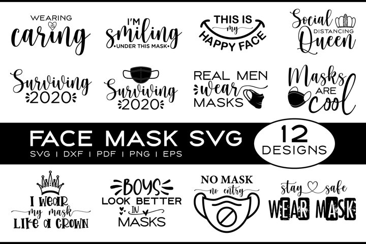 Face Mask SVG Bundle, Face Mask Quotes SVG Bundle