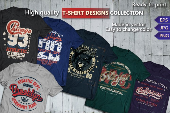 T-shirts graphics design. Vintage and Sport Typography