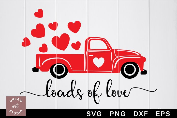 Loads of love svg Old red truck svg Ford truck with heart