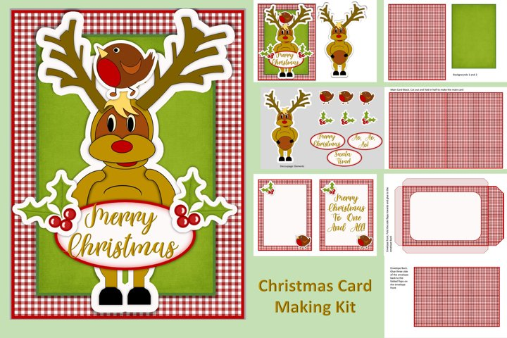 Christmas Card Making Kit JPEG, PNG with clipart