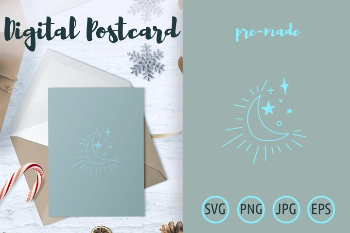 Shining crescent moon with stars postcard