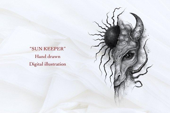 Sun Keeper Hand drawn sublimation digital illustration