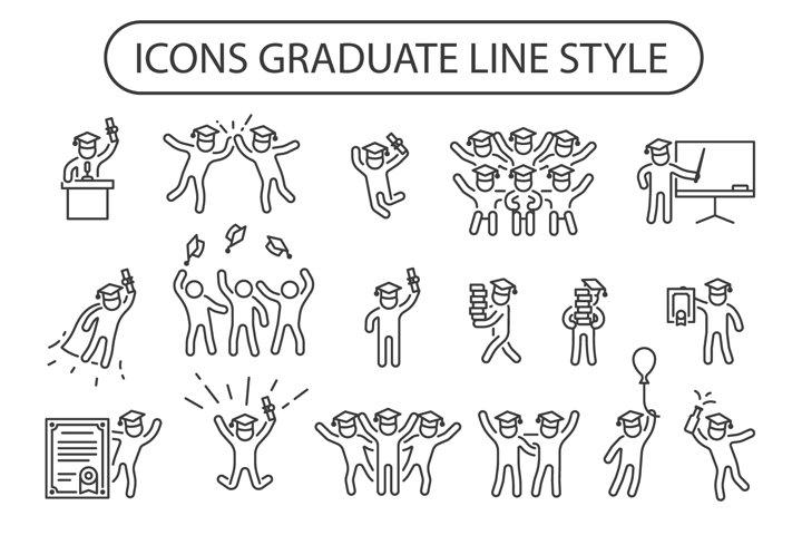 17 icons graduate line style