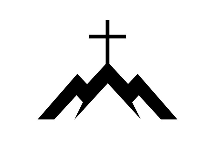 Mountains with cross. Christian logo for your business