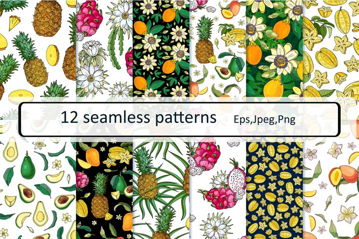 EXOTIC FRUITS.12 seamless patterns