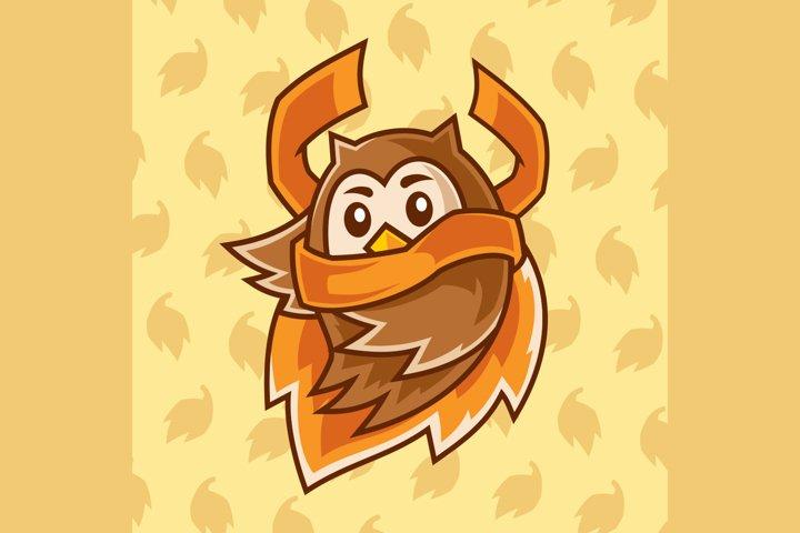 flying cartoon Owl wear a scarf illustration
