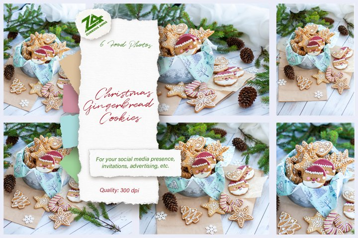 6 Photos Bundle Christmas Home made Cute Gingerbread Cookies