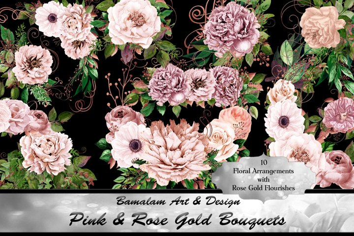 Pink & Rose Gold Floral Bouquets