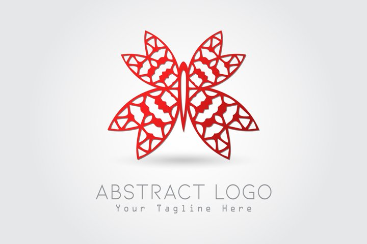 Logo Abstract Butterfly Red Color Design