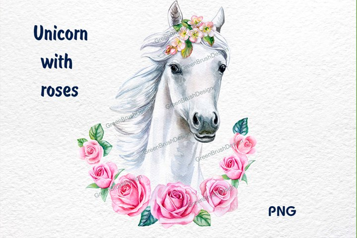 White horse with pink flowers, wreath clipart. Unicorn Face