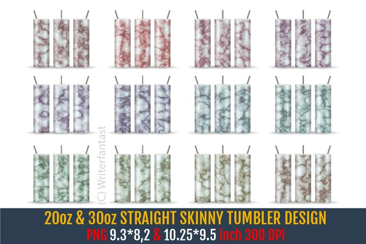 20oz & 30oz STRAIGHT Skinny Tumbler Sublimation, Marble