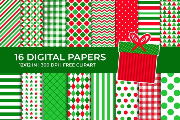 Christmas Digital Papers Set, Free Present Clipart