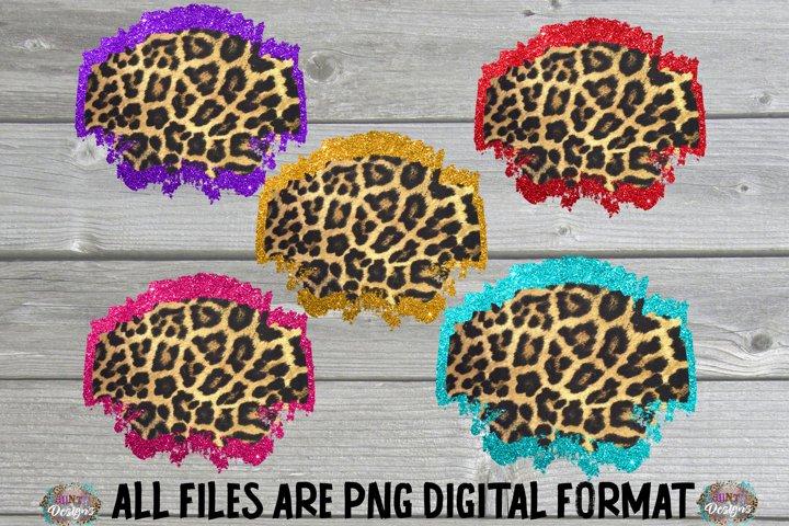 Glitter Cheetah Frame Background Bundle Sublimation Clip Art