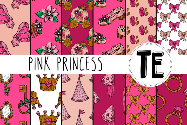 Pink Princess Digital Papers. 12 Fantasy Seamless Patterns