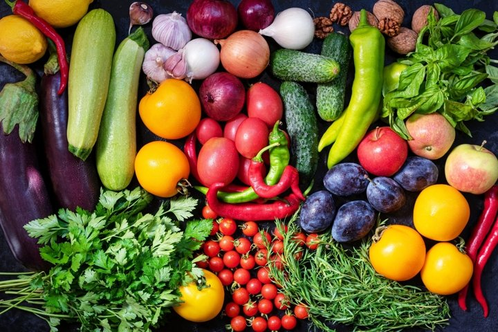 Fresh vegetables and fruits background. Healthy organic food