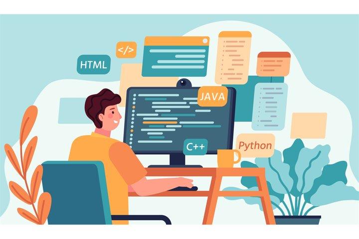 Programmer working. Program or web developer coding on compu