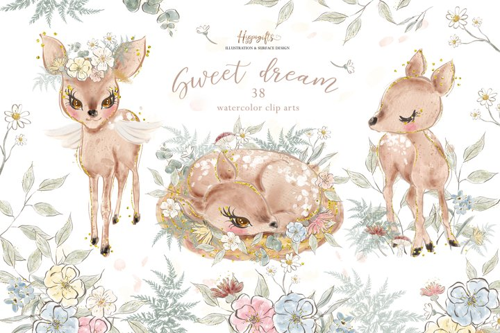 Deer watercolor clip arts,fawn illustration