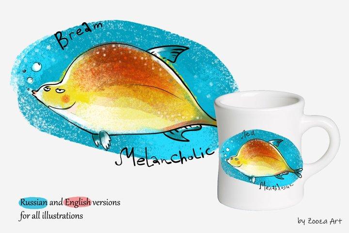 Happy River Fish - 9 illustrations example 2
