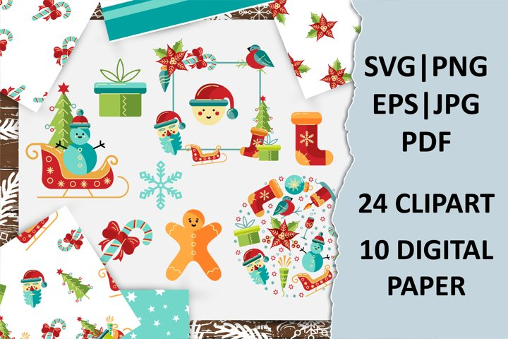 Merry Christmas pack with clipart, frames, digital papers.