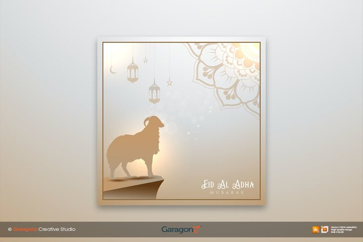 Islamic eid al adha mubarak concept background with golden