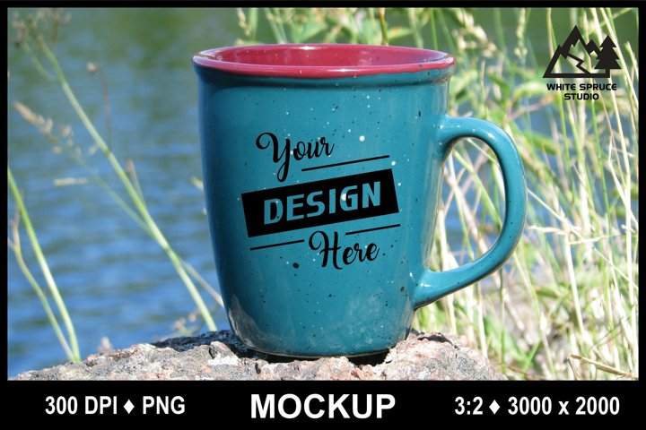 Outdoor Mug Mockup #5 PNG, Scenic Mockup with Mug, Drinkware