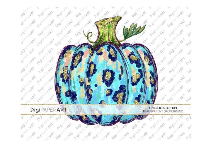 Teal Leopard Pumpkin PNG, Sublimation Thanksgiving Design