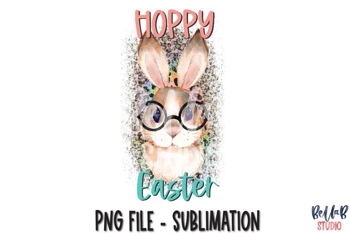Hoppy Easter Sublimation Design, Leopard Bunny with Glasses