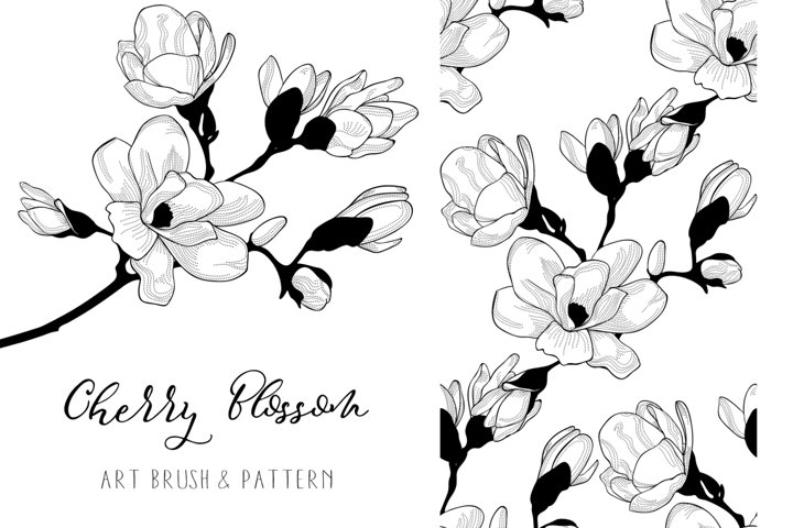 Cherry Blossom. Floral Design Element. Art Brush. Pattern.