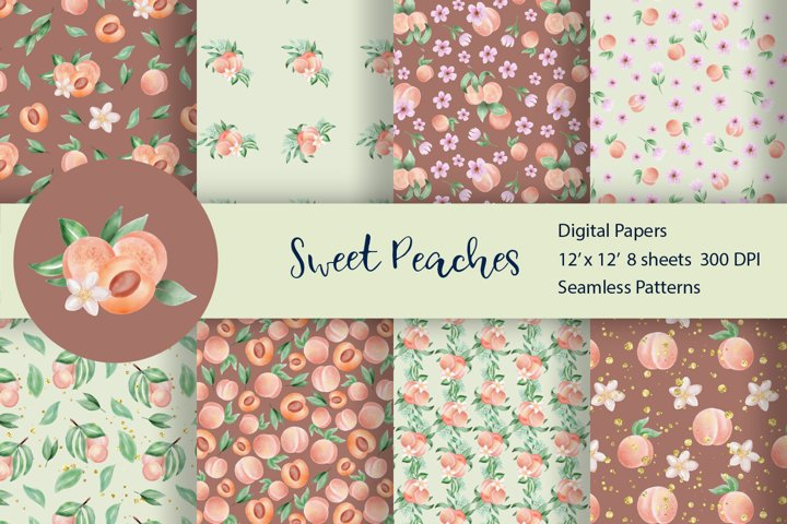 Seamless Pattern Set Sweet Peach
