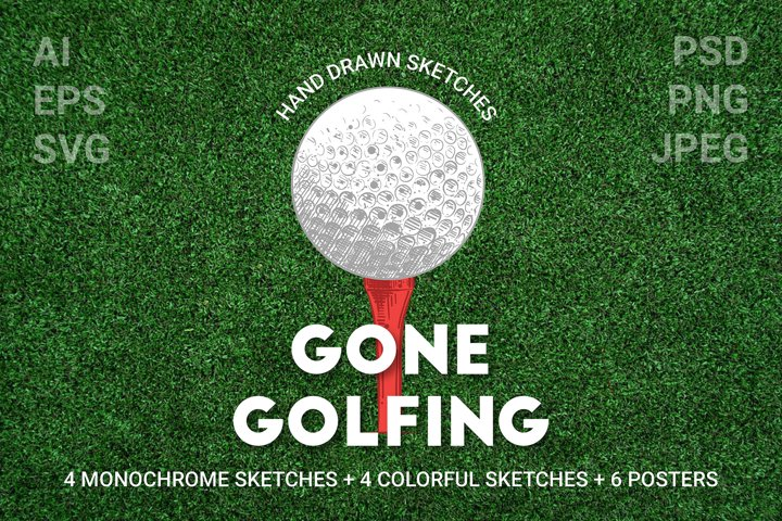 Golf engraved sketches and posters