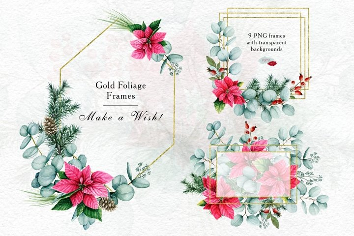 Gold Foliage Christmas frames, Watercolor Winter PNG clipart