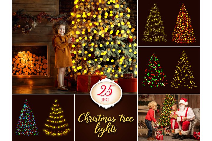25 Christmas Tree Lights Overlays