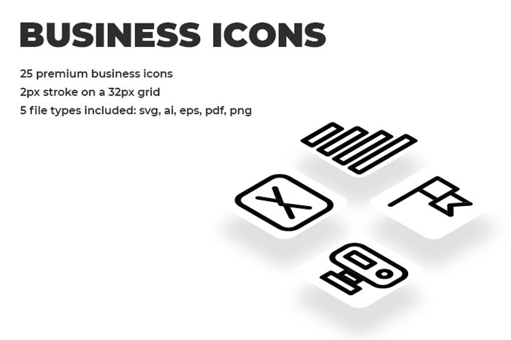 25 Black Minimalist Premium Business Line Icon Set
