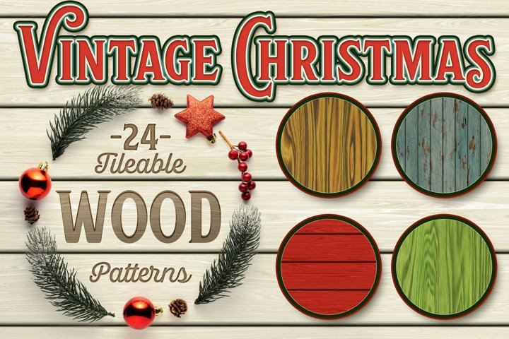 Vintage Christmas Seamless Tiling Wood - 24 Patterns