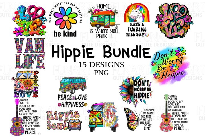 Hippie peace love bundle design