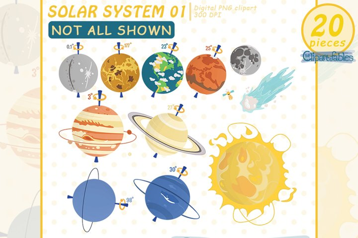 SOLAR SYSTEM clipart, Planet clip art, EDUCATIONAL design