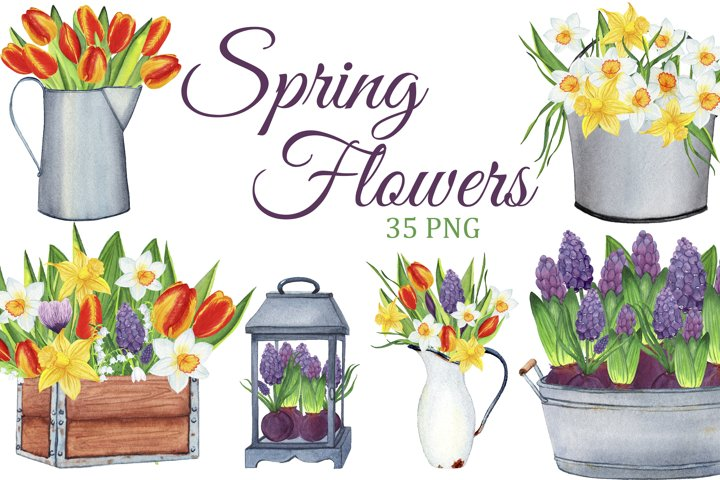 Spring Flowers watercolor clipart, Spring PNG, Farmhouse