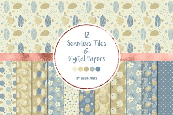 12 Doodle Nature Seamless tiles and Digital Papers