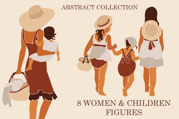 Mother & Children Clipart. Abstract Illustration. Modern Art