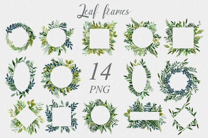 Set of 14 frames from png leaves. Clipart